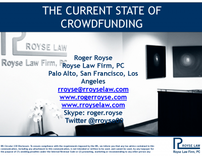 Royse Law Presentation from our CrowdFunding Event Jan 21, 2014