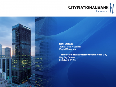 Tomorrow's Transactions Unconference Day Presentation from CNB